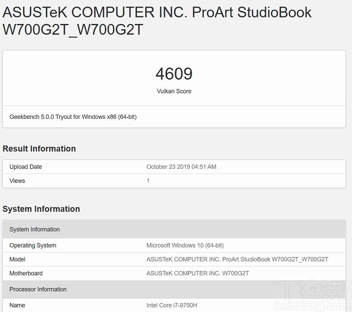 在 Geekbench 5 測試 Vulkan,選擇 Intel HD Graphics 630,獲得的分數為 4,609 分。