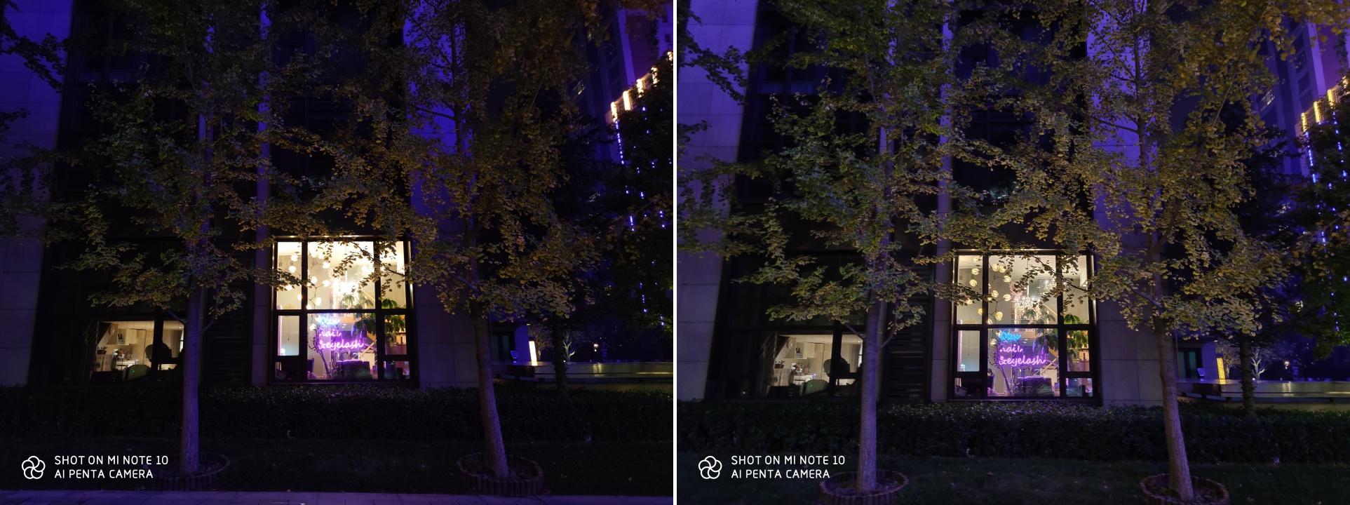 左為一般拍照模式 1x 焦段,右為夜景模式拍攝:右圖的場景明亮度與高亮細節處理更優秀。
