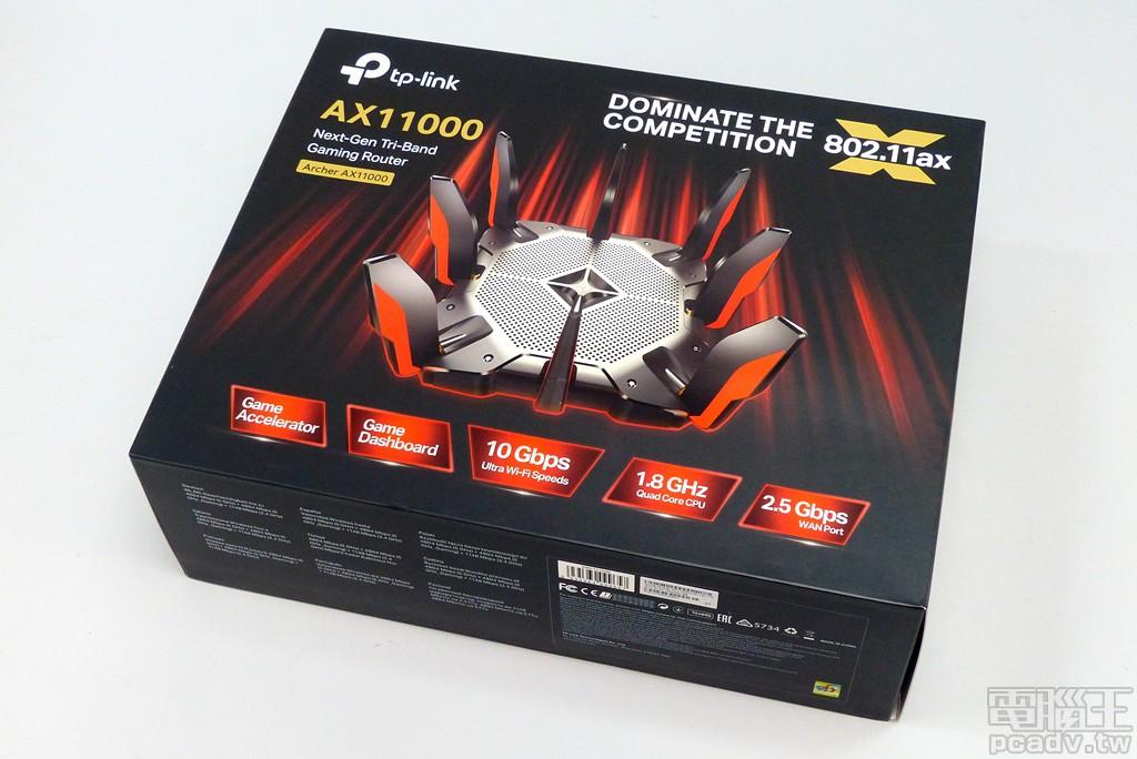 ▲ 相對於 TP-Link 近期採用企業識別色作為外包裝主視覺設計,Archer AX11000 採用較為強悍的紅黑配色,右上角金標標誌加註 802.11ax 而非 Wi-Fi 6,AX11000 字樣也使用燙金設計。