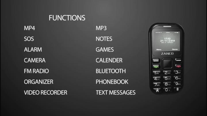 tiny t2功能簡表,與一般功能手機大致相同。
