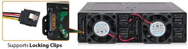 ToughArmor MB720M2K-B 需要 2 個 SATA 電源接頭作為電力來源,插座支援防掉落金屬扣。