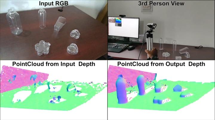 ClearGrasp(右下)能大幅提升辨�透明物體的準確度。