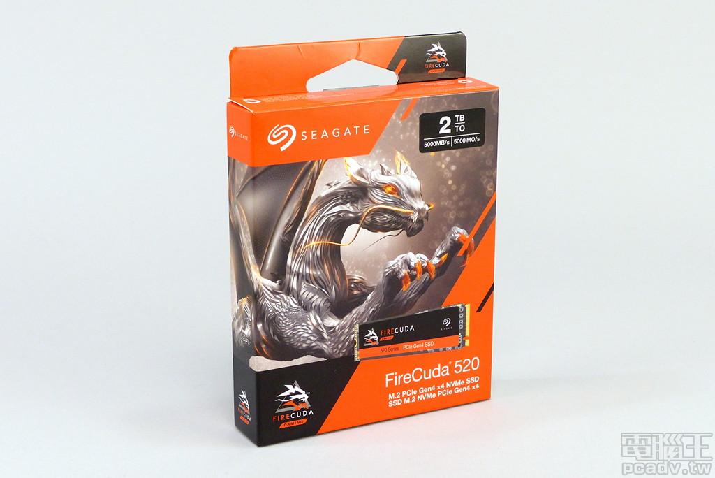 Seagate FireCuda 520 SSD 採用紙盒包裝,雖然產品名稱是從 BarraCuda 變化而來的 FireCuda,但主視覺�計改採龍的意象。