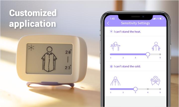 也可以透過App�定自己的耐熱、耐冷程度。