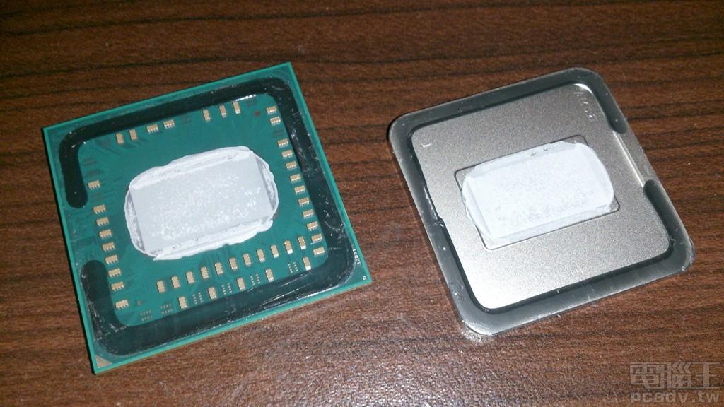 目前 AMD 和 Intel 於中、低價位產品,處理器封裝內部晶粒與 IHS 金屬上蓋均有使用矽基散熱膏。