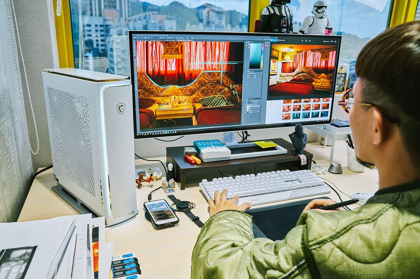 PS314WU 的超高解析度與超寬螢幕�計能滿足�憲聰在工作時同時開啟應用工具與參考素材的需求,大大降低反覆切換畫面的麻煩。