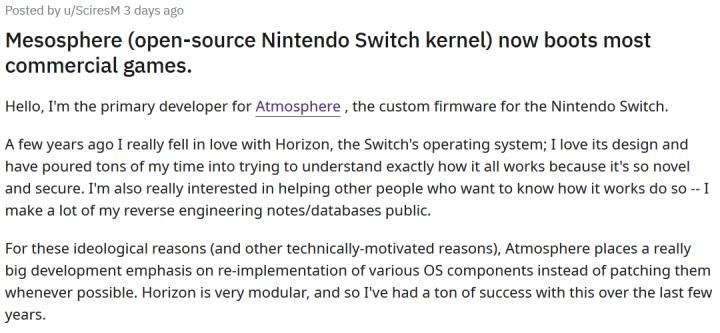 SciresM在Reddit討論區說明Mesosphere的開發進度。