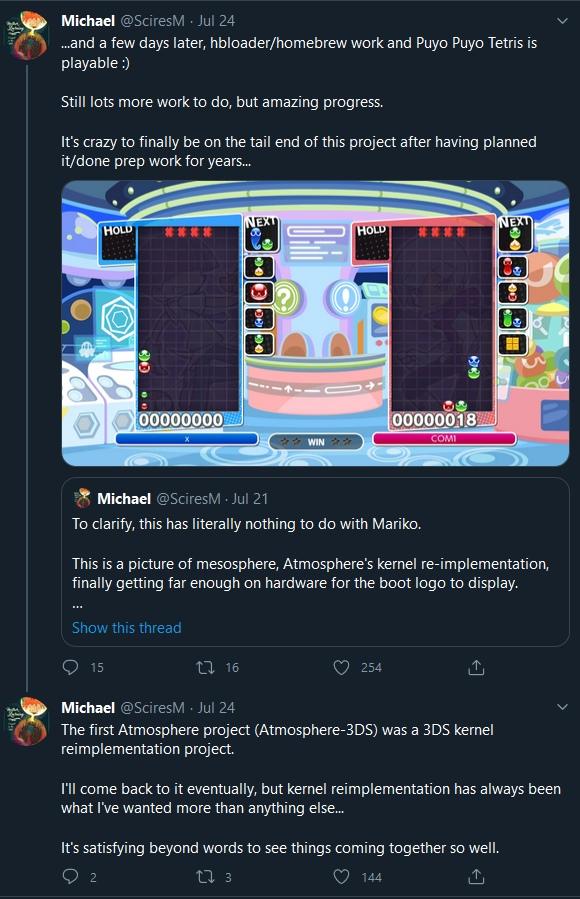 Mesosphere能夠正確執行《魔法汽泡俄羅斯方塊》、《動物之森》、《聖火降魔錄 風花雪月》等遊戲。