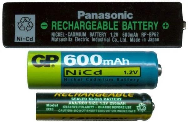 幾種鎳鎘電池。圖/Wikipedia