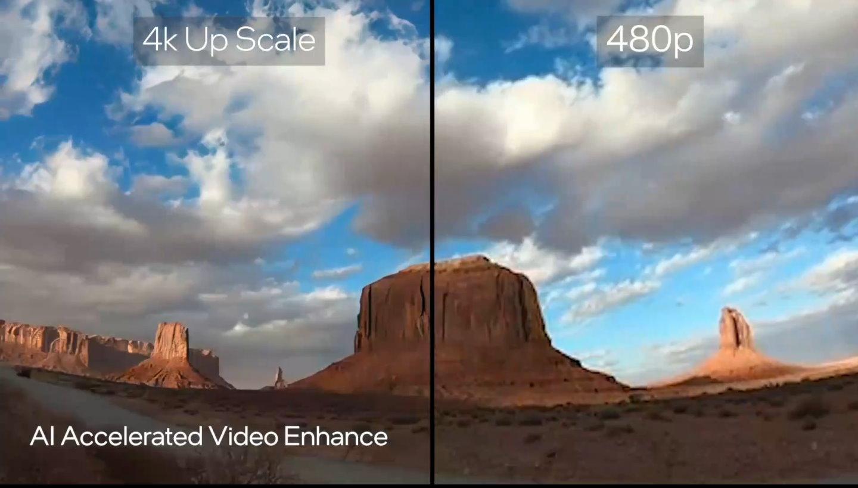 在影片播放部分,也可以透過AI升頻,將480p解析度的影片提升至4K解析度。