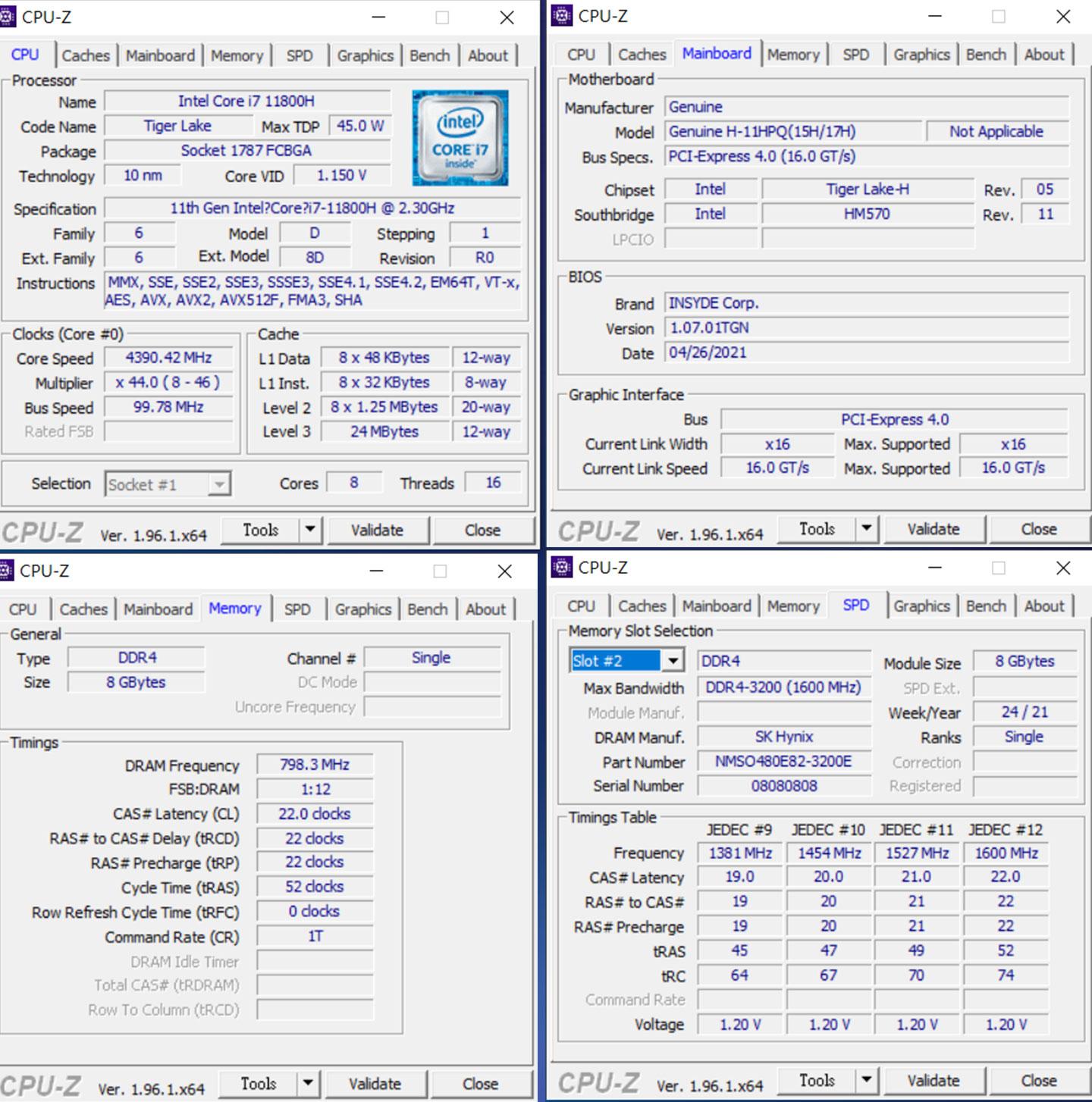 內建 Intel H45 平台的處理器-Intel Core i7-11800H 的詳細規格資料。