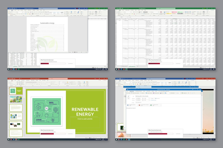 Procyon辦公室生產力測試會透過Excel、PowerPoint、Word文件和Outlook�Microsoft Office家族產品評估電腦效能表現。 ▲ 測試結果一樣會以量化的分數呈現。
